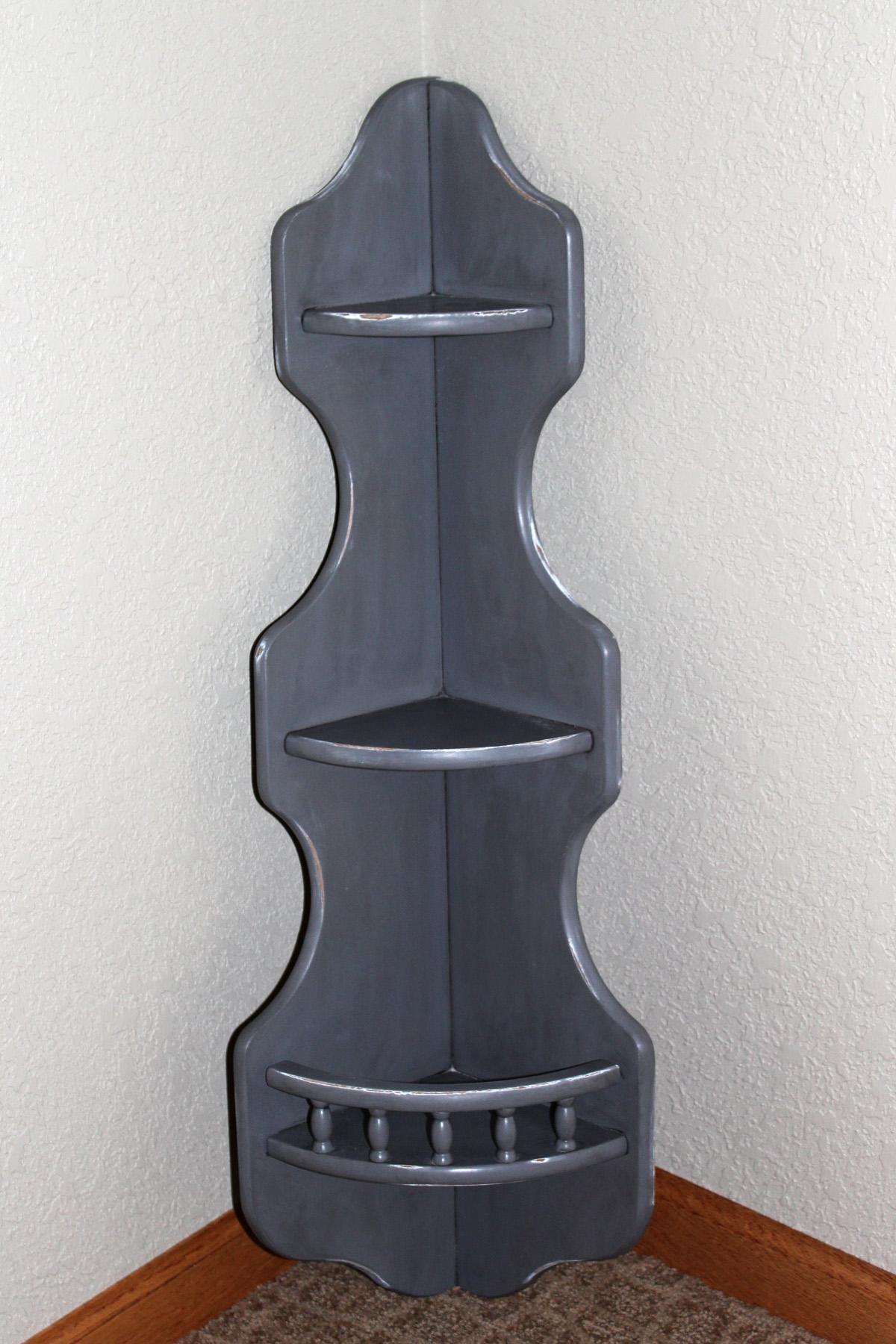 Grey Distressed Corner Shelf