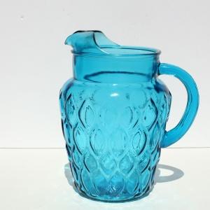 Blue glass pitcher a