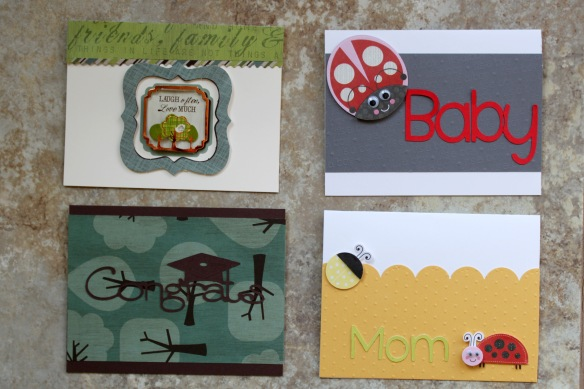 Cards I made while at a Crafting Retreat in April.  The bottom right hand one is the card I sent out for Mother's Day this year.