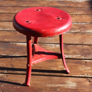 Red Cast Iron Milk Stool