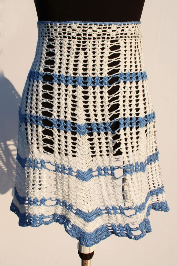 Crochet Half Apron Blue White a