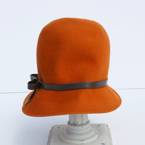 Orange Wool Cloche Hat a