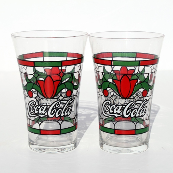 Coca Cola Stain Glass Tulip Glass a